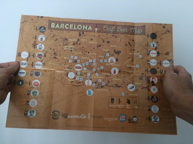 Mapa das Cervejarias Artesanais em Barcelona
