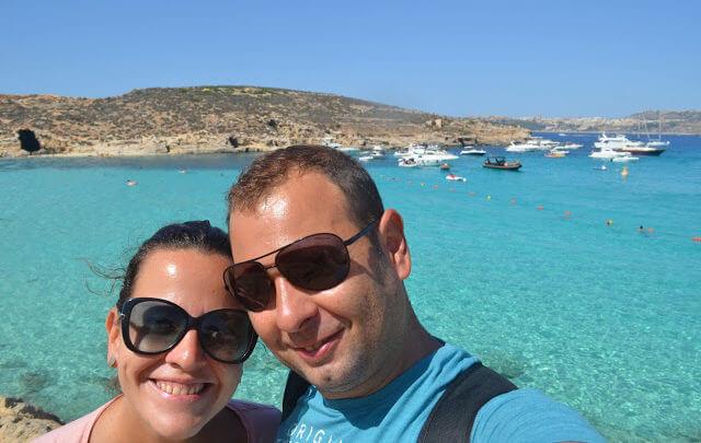 Eu e a Pri na Blue Lagoon